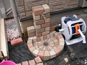 立水栓4 日本興業 立水栓ユニット サークルタイプ[PAサークルパン][地中配管仕様][補助蛇口仕様] OPB-RS-1WT-PA